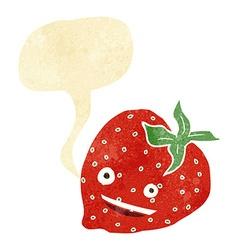Cartoon strawberry with speech bubble vector
