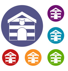 Cat house icons set vector