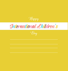 Childrens day greeting card style vector
