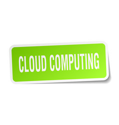 Cloud computing square sticker on white vector