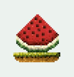 Color pixelated watermelon fruit in meadow vector