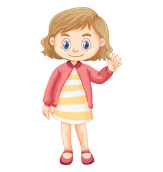 Cute girl wearing pink jacket vector