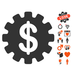 Development cost icon with love bonus vector