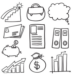 Doodle of business element set vector
