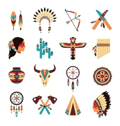 Ethnic american indigenous icons set vector