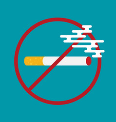 Flat colored with prohibition of smoking nicotine vector