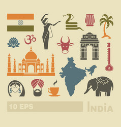 flat icons of india vector image