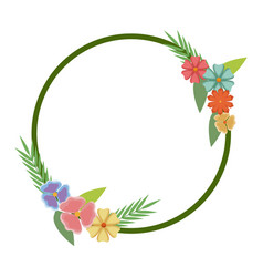 Floral frame round flowers natural decoration vector
