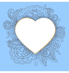 Heart with doddle pattern vector image
