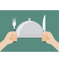 Knife and fork cutlery in hands with serving tray vector image vector image