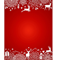 Merry Christmas elements red postcard template vector image vector image