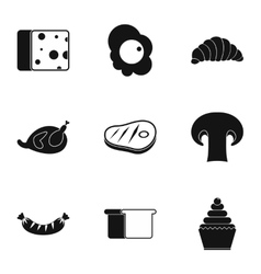 Morning meal icons set simple style vector