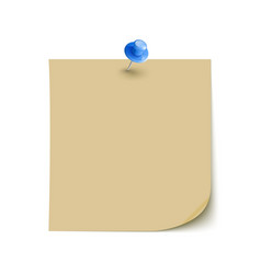 Note Paper with pin on white background isolated vector image