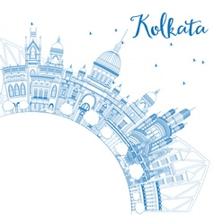 Outline kolkata skyline with blue landmarks vector