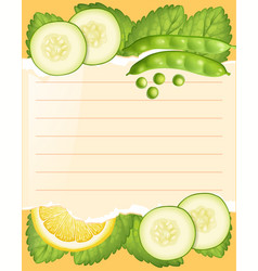 Paper template with cucumber and beans vector