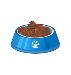 Pet preserved food in bowl isolated icon vector