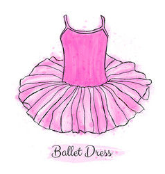 Pink ballerina tutu dress performance ballet vector