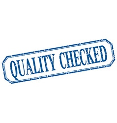 Quality checked square blue grunge vintage vector
