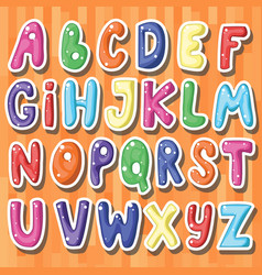 Set of cute stickers with cartoon english letters vector