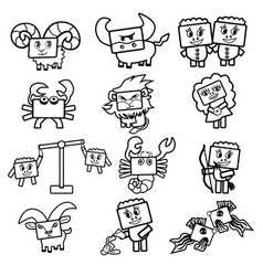 set of icons of the zodiac signs cute cartoon vector image vector image