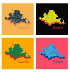 set of karachi pakistan colorful flat map streets vector image vector image