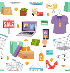 Supermarket grocery shopping cartoon vector