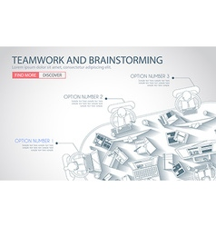 Teamwork Concept with Doodle design style vector image