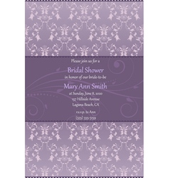 violet bridal shower invitation vector image