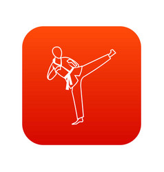 Wushu master icon digital red vector