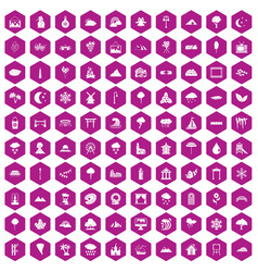 100 scenery icons hexagon violet vector image vector image