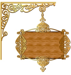 Board forged gold ornament for posts vector