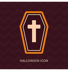 Halloween coffin silhouette icon vector