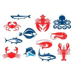Seafood icon set with fish and crustacean vector image