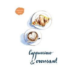 Cappuccino croissant vector