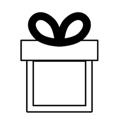 Gift box ribbon black bow linear vector