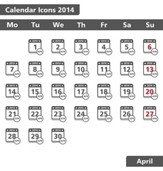 April 2014 calendar icons vector