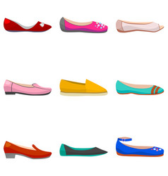set of women flat shoes vector image