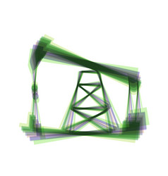 Oil drilling rig sign  colorful icon vector