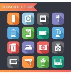 Flat household icons and symbols set vector