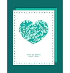 Emerald green plants heart symbol frame vector