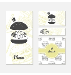 Set of cards with sketched burger fast food vector