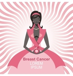 Breast cancer awarenesswoman silhouetteportrait vector