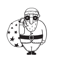 Santa Claus in Glasses Outline Flat Cartoon vector image