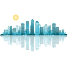 a cityscape with reflection vector image