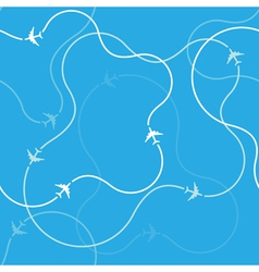 Pattern with airplane routes vector