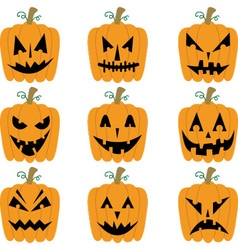 Halloween pumpkins collections vector