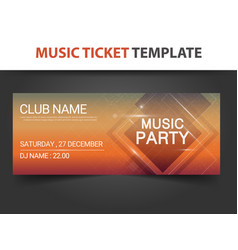 Abstract square shape music ticket template vector