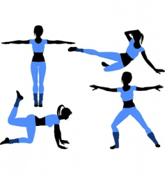 Aerobics silhouettes2 vector