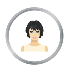 Black hair woman icon in flat style isolated on vector image