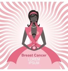 Breast cancer awarenesswoman silhouetteportrait vector